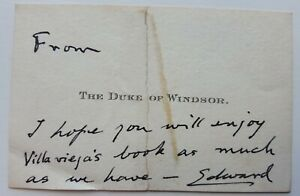 King Edward VIII Autograph Signed Letter Note Card  Duke and Duchess of Windsor