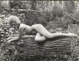 Vintage Female Pin Up Nude Model in Forest Naturist Original Stamped Photograph