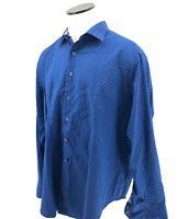Robert Graham XL Mens Blue Plaid Button Down Shirt Flip Cuff Long Sleeve