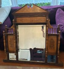 More details for large wooden overmantle mirror