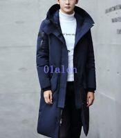 Men's Chic Winter Parka Jacket Duck Down Outwear Warm Hooded Long Coat Solid New