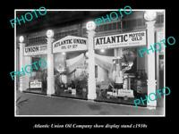 OLD POSTCARD SIZE PHOTO OF THE ATLANTIC UNION OIL COMPANY DISPLAY STAND c1930s