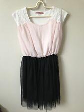 Mayuki Lacey Tulle Skirt Dress SiZe 6-8 Pink White Lace Black