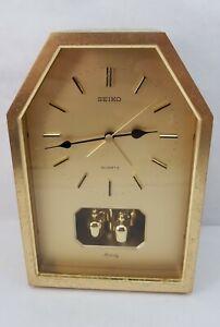 Vintage Seiko Melody Quartz Alarm Mantle Clock Gold Rotating Pendulum for Repair