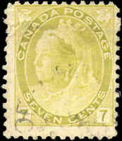 Used Canada 1902 7c F Scott #81 Queen Victoria Numeral Issue Stamp