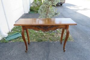 French Country Carved Oak Parquet Top Library Console Long Table 2065