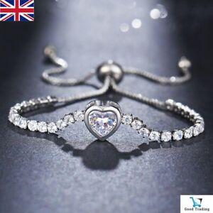 Adjustable Silver Crystal Heart Friendship Girls Womens Bracelet Cubic Diamante