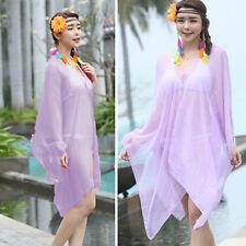Womens Beach Bikini Lavender Kimono Cover Up Chiffon Wrap Scarf Bead Shirt Dress