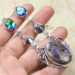 """Copper Chevron Amethyst 925 Silver Plated Handmade Necklace of 15.2"""" Ethnic"""