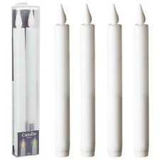 4 Long LED Flameless Battery Operated Taper Christmas Dinner Party Candles Light