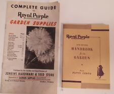 "TWO RARE VINTAGE CDN (LONDON,ONT) ""ROYAL PURPLE GARDEN SUPPLY"" GUIDES/HANDBOOKS"