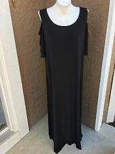 New $129 Chico's Solid Black Cold Shoulder Maxi Dress Size 2 = L Large 12 14 NWT