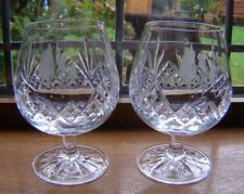 A PAIR BEAUTIFUL EDINBURGH CUT GLASS CRYSTAL BRANDY GLASSES GOLFERS ETCHED FRONT