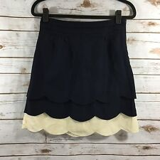 Floreat Anthropologie Navy Blue Cream Scalloped Skirt Size 4 NWT