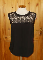 OASIS brown black floral lace inset sleeveless camisole vest tunic top 12 38