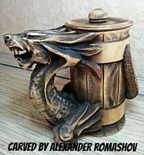 Dragon Wooden Stein Mug Tankard Barrel Cup Beer Handmade Carved Groomsmen Gift
