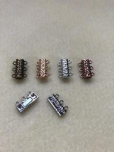 3 Hole Magnetic Clasps, carved design pack of 2 various colours jewellery making