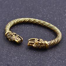 Armband Bracelet Drache Kopf Viking Öffnend Für Unisex Modeschmuck Geschenk Gold