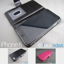 Funda piel con tapa tipo cartera para iphone 6 / 6S Apple en Negra o Rosa Fucsia
