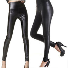 Women Full Length Shiny Wet Mat Look Faux Imitation Leather Leggings Pants
