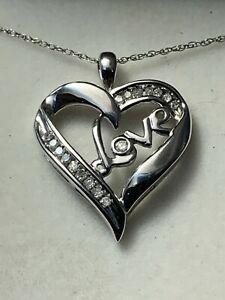 """10K white Gold Diamond Love Heart Pendant 18"""" 10K Chain Necklace 2.45gr"""