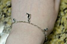 DOLPHINS DANGLE CHARM BRACELET .925 STERLING SILVER BLUE TOPAZ  7 INCHES