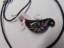 Jewelry Necklace Hand Blown Glass Seahorse Purple 3D Organza Ribbon Chain