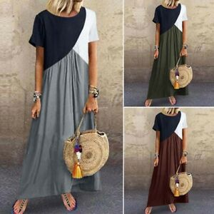 ZANZEA Women Short Sleeve Sundress Kaftan Contrast Color Block Long Maxi Dress