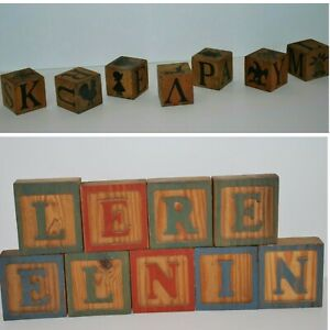 vtg Group 16 Wood Chatterblocks  ABC Block Alphabet Letters Pictures Animals