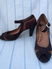Sofft Peep-toe Mary-Jane Tri-Colored Brown Suede Pumps US 12 EU 44 NWOB