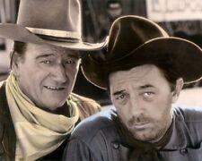 """JOHN WAYNE ROBERT MITCHUM EL DORADO 1966 ACTORS 8x10"""" HAND COLOR TINTED PHOTO"""