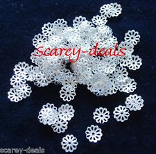 200  7mm Silver PLATED PETAL FLOWER Bead Cap ends 7 mm findings 1ST CLASS POST