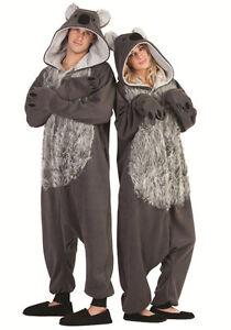 KYLIE KOALA BEAR ADULT COSTUME ANIMAL PAJAMAS GREY JUMPSUIT MENS WOMENS FUNSIES