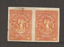 El Salvador plate proof pair 1c orange small tear at left, smudge (14ayx)