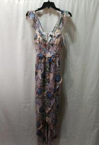 Guess Women's Maxi Faux Wrap Dress Size 0 Pink Floral V-Neck New 1162