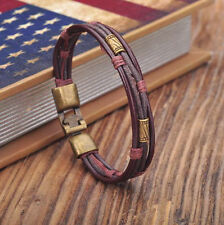 G154 Brown Leather Hemp Braided Surfer Wristband Bracelet Cuff Cool Metal Clasp