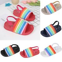 Toddler Kids Girls Boys Summer Rainbow Slippers Beach Slides Soft Shoes Sandals