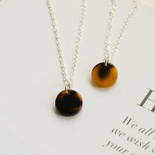 Sterling Silver Tortoise Shell Disc Necklace - Small Resin Faux Drop Pendant UK