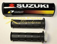 7/8'' Handlebar Grips And Suzuki Cross Bar Pad Motocross Dirt Bike. USA!!