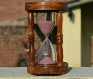Collectible antique wooden sand timer hour glass 5 minute pink sand vintage gift
