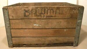 Vintage Bowman Original Wooden Shipping Crate 8-54 Metal Corner Protectors