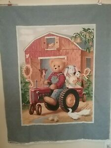 Vintage Tractor Teddy quilt panel by Daisy Kingdom, 36 x 44