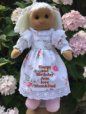 PERSONALISED RAG DOLL 1ST 2ND 3RD 4TH 5TH ANY AGE BIRTHDAY ROSE DRESS GIFT