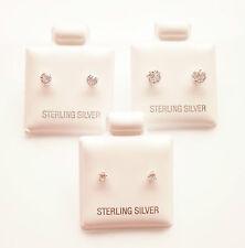925 Sterling Silver Cubic Zirconia CZ Round Stud Earrings Set 2mm 3mm & 4mm