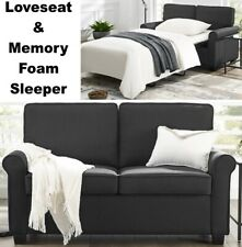 Black Loveseat Sofa Sleeper & Memory Foam Mattress Sofa Beds Small Spaces Bed