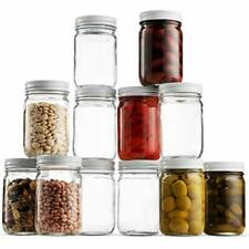 Glass Mason Jars (12 Pack) 12 Ounce Wide Mouth Jam Jelly Jars,  Pickling, Preser