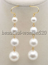 Z8362 Handwork White Round SOUTH SEA SHELL PEARL Tower Dangle Earring