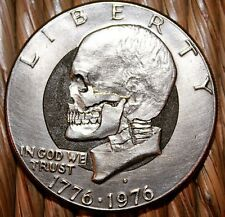 Hand Carved Eisenhower Skull – Hobo nickel coin by Seth Basista
