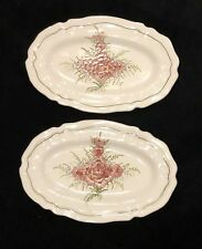 Pair Signed Fait Main France Faiance Plates Pink Sage Green Flowers Scallop Edge