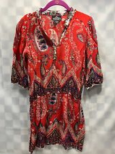 ANGIE Light Paisley Print Hippie Style Dress Red Women's Size M